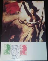 """CARTE  """" LA LIBERTÉ """" GUIDANT LE PEUPLE PARIS 1990 FDC - 1980-1989"""