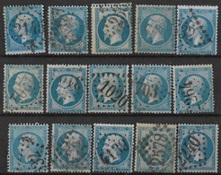France - N° 22 Empire 20c - 15 Timbres Oblitérés, Voir GC Dont 2145, 1020, 2264, 2240, 2578, 4139, 1202 - 1862 Napoleon III