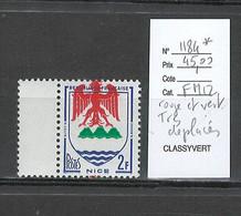 France - Yvert 1184* - Blason De Nice -  Rouge Et Vert Trés Déplacés - Variedades: 1950-59Nuevos