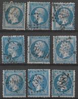 France - N° 22 Empire 20c - 9 Timbres Oblitérés, 2éme Choix - GC Dont 3882, 1754, 2239, - 1862 Napoleon III
