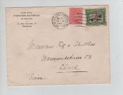REF3194/ TP 138-143 S/L.Musée Royal D'Histoire Naturelle C. BXL (Q.L.) 19/11/1921 > Suisse - Cartas