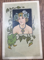 """Art Nouveau - Serie """"Belles Femmes"""" - Donnina Liberty Con Decori Floreali - Ante 1900"""