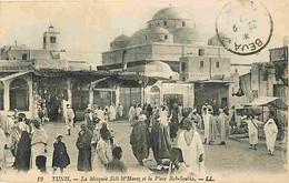 Tunisie - Tunis - La Mosquée Sidi M'Harez Et La Place Bab-Souika - Animée - Correspondance - Oblitération Ronde De 1921 - Tunisia