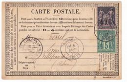 Carte Postale 1877 Ouroux Rhône Diot Notaire Villefranche-sur-Saône Monsols Type Sage 10 Centimes + 5 Centimes - 1876-1878 Sage (Type I)