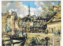 Brunet Honfleur Les Hautes Maisons Du Vieux Bassin (carte Vierge) - Paintings