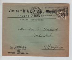 """REF3198/ TP 337 S/L.Publicitaire Vins De """"Malaga"""" Wijnen """"Pedro Jimenez"""" C.Antwerpen 21/11/1932 > Ampsin - Wines & Alcohols"""