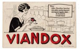 Buvard VIANDOX LIEBIG Pour Bouillon Famillial Femme Dans Sa Cuisine Fourneau Pâtes Bouteille De Viandox - Soups & Sauces