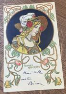 "Art Nouveau - Serie ""Femmes Modernes"" - Donnina Liberty Con Decori Floreali - Ante 1900"