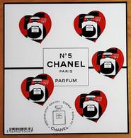 """FRANCE 2021 BLOC FEUILLET """"COEUR CHANEL N° 5 PARIS PARFUM"""" - OBLITERE 1er JOUR 22.01.2021 - 2010-.. Matasellados"""