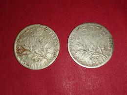 50 Centimes ARGENT SEMEUSE 1903 ET 1905 Non Nettoyé - G. 50 Centesimi
