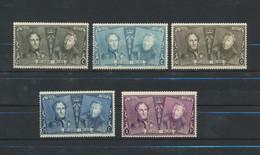 """Belgique 1925 - 5 Timbres De La Série """" JUBILE """" COB 224-226-227-229-230 - Cote 109 Euro  MNH XX - Unused Stamps"""