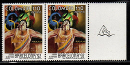 A364G-COLOMBIA- 1992 - MNH - MI#: 1866 - BARCELONA OLYMPICS - SWIMMING LABEL - Colombie