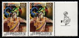 A364I-COLOMBIA- 1992 - MNH - MI#: 1866 - BARCELONA OLYMPICS - BASKETBALL LABEL - Colombie