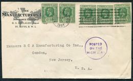 1937 Leeward Islands / St Kitts, Manufacturers Insurance, Mallalieu Cover - Camden NJ USA. New York Paquebot. - Leeward  Islands