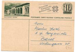 """22 - 33 - Entier Postal Avec Illustration """"Bad Ragaz"""" Oblit Mécanique 1951 - Enteros Postales"""