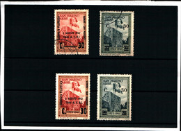 31357) SAN MARINO-Giornata Filatelica+arbe, Soprastampato - 1942-  2 SERIE COMPLETE- 1 USATA-1 MNH** - Unused Stamps