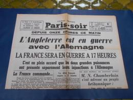 Paris  Soir   Lundi  4 Septembre  1939 - Francés