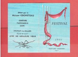 CALENDRIER PARFUME 1960 FESTIVAL PARFUMS CHERAMY OFFERT PAR MAISON COCHETEAU A PRUNAY LE GILLON EURE ET LOIR - Profumeria Antica (fino Al 1960)