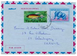 Aérogramme De Usumbura (1968) Pour France Télégramme Naissance Elephant Phenacogrammus Kibumbu Kiganda - 1962-69: Oblitérés