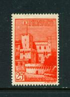 MONACO  -  1954 25f Unmounted Never Hinged Mint - Unused Stamps