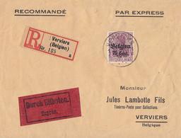 Dt. Besetzung In Belgien R-Eilbote-Brief EF Minr.21 Verviers - Besetzungen 1914-18