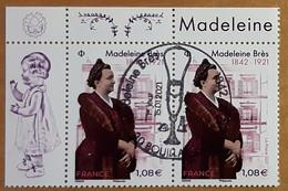 "2021 - ""MADELEINE BRES"" - PAIRE BDF ISSU BLOC FEUILLET 15 TIMBRES - OBLITERE 1er JOUR 15.01.21 - BOUILLARGUES - Usati"