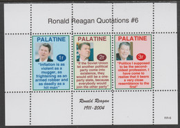 Palatine (Fantasy) Quotations By Ronald Reagan #6 Perf Deluxe Glossy Sheetlet Containing 3 Values Each With A Famous Quo - Cinderellas