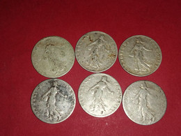 6 X 50 Centimes ARGENT SEMEUSE 1899 1900 1902 1904 1910 1912 Non Nettoyé - G. 50 Centesimi