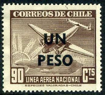 Chile Chili 1951 Linea Aereo Nacional Airline Surchargé Overprint  Lockheed Lodestar - Aerei
