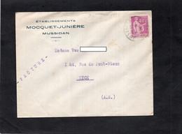 LSC - Entête Etablissements MOCQUET-JUNIERE à MUSSIDAN (Dordogne),& Cachet Sur YT 280 - Vignette Publicitaire Au Dos - 1921-1960: Moderne
