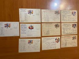 Lot De 10 Cartes -correspondance Militaire - Militaire Kaarten Met Vrijstelling Van Portkosten