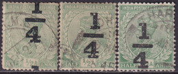 INDIA 1922 SG #195 ¼a On ½a Used Three Positions Of The Overprint - 1911-35 King George V