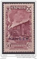 TABE20FVESCOLMA-A406THISSC.Maroc.Marocco .Historia  Del Correo.TANGER ESPAÑOL Tren.BENEFICENCIA 1943(Ed 20**) S/c .LUJO - Non Classificati