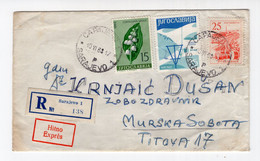 1963 YUGOSLAVIA,BOSNIA,TPO 5 SARAJEVO-ZAGREB,TPO 2 BEOGRAD-LJUBLJANA, REGISTERED,EXPRESS COVER TO M.SOBOTA - Brieven En Documenten