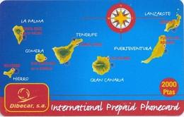 TORC : SPA008 2000pta TORC Dibecar S.a. Map Of Canarias DUMMY/SPECIMEN Exp: 6 MONTHS - Otros