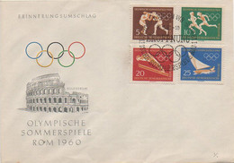 1960 Olimpiadi Di Roma - Serie Della Germania Est Su Busta Con Annullo Speciale FDC - Otros