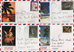 Polynesie - Lot De 4 Lettres - Centre De Tri Avion - Ile De Tahiti - Covers & Documents