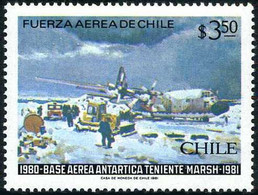 Chile Chili 1981 Base Lieutenant Teniente Marsh Antarctic South Pole Lockheed Hercules - Aerei