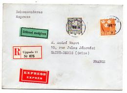 SUEDE--1957--Lettre Recommandée EXPRESS De  UPPSALA   Pour Saint Denis  (France)...timbres...cachets... - Briefe U. Dokumente