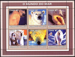 {M87} Mozambique 2002 Marine Life Polar Bears Sheet MNH** - Mosambik