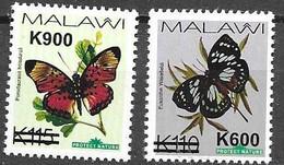 MALAWI, 2020, MNH, BUTTERFLIES, OVERPRINTS, 2v - Mariposas