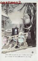 SERIE DE 4 CPA : JOYEUX-NOEL PERE-NOEL JEU JOUET TRAINEAU POUPEE DOLL FETE - Santa Claus