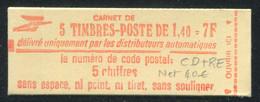 FRANCE - CARNET N° 2102 -C 1a  -  * *  - CD DU 6.  22/8/80 AVEC RE - COMPLET FERME & TB - Definitives