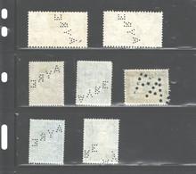 """NEWFOUNDLAND 1937 - 1944  """"PERFINS"""" AS #231 - 232; #256(3); #257; #260, USED; NO GUM. - Sin Clasificación"""