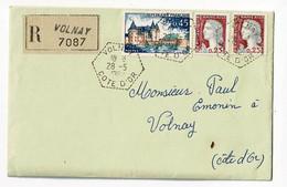 Cachet Hexagonal De Volnay (21 ) Circ 1962 Sur LAC Recommndée, Affranchissement 0,90 Francs - 1961-....