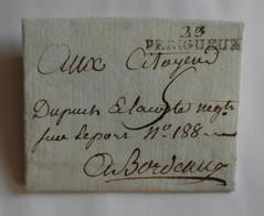 Dordogne 1797 - Marque Noire 23 PERIGUEUX – DUPUCH & LACOSTE Bordeaux – REYNAUD Périgueux - 1701-1800: Precursori XVIII