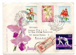 """POLOGNE-1965-Lettre Recommandée De ZABRZE Pour St Denis (France).timbre """"fleurs..(orchidées)+boxe JO Tokyo)...cachets .. - Covers & Documents"""
