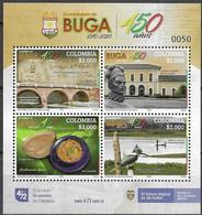 COLOMBIA, 2020, MNH, GUADALAJARA DE BUGA, BIRDS, KINGFISHERS, FOOD, CANOES, FISHING, BRIDGES, SHEETLET OF 4v - Altri