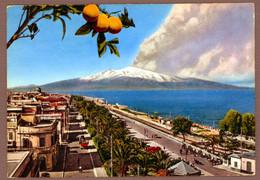°°° Cartolina - Reggio Calabria Lungomare Con Veduta Dell'etna Viaggiata (l) °°° - Reggio Calabria