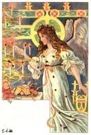 Illustration 97 Femme Ange Art Nouveau Sapin Noël Bougie Paillettes - Ante 1900